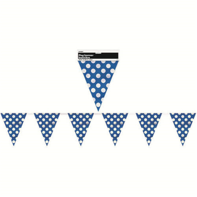 Polka Dots Flag Banner Royal Blue 12PK