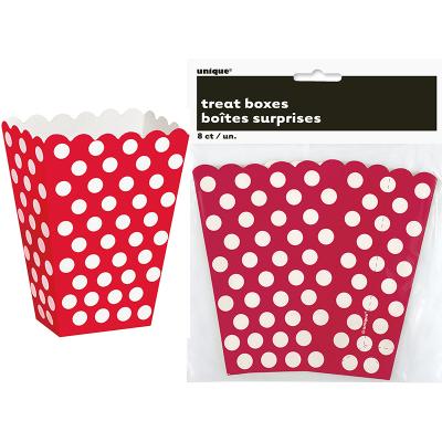 Polka Dots Treat Boxes Ruby Red 8PK