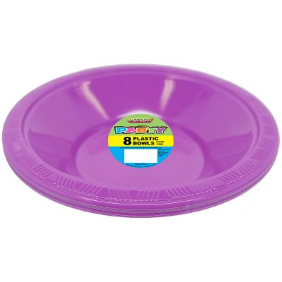 Plastic Bowls 18cm Purple 8PK