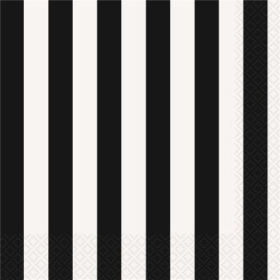 Stripes Black Luncheon Napkins 16PK