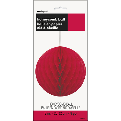 Hanging Honeycomb Ball 20cm Red