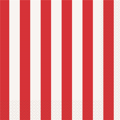 Stripes Red Luncheon Napkins 16PK