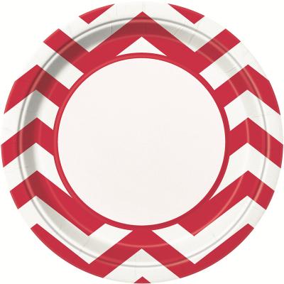 Chevron 23cm Plates Red 8PK
