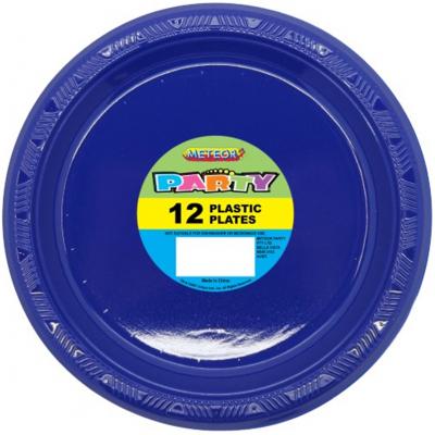 Plastic Around Plates 18cm Navy Blue 12PK