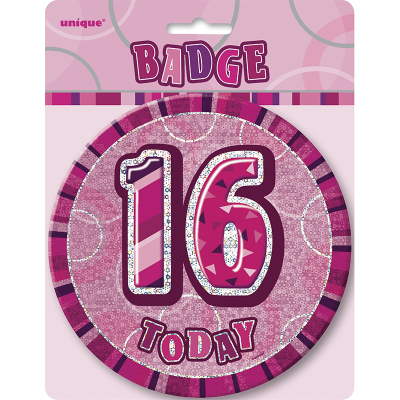 Glitz Birthday Pink Badge 16th