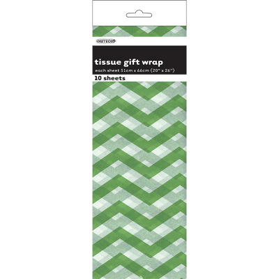 Chevron Tissue Sheet Lime Green 10PK