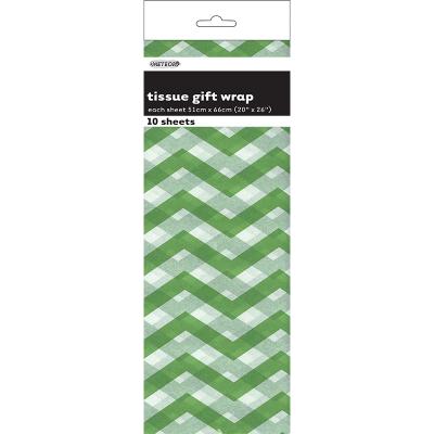 Chevron Tissue Sheet Lime Green 10PK