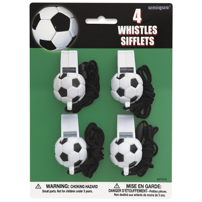 3D Soccer Ball Whistles 4PK