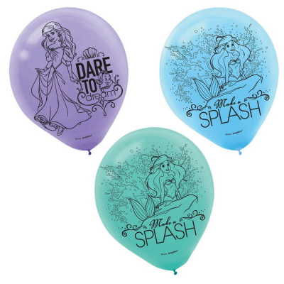 The Little Mermaid Ariel Dream Big 30cm Latex Balloons 6PK