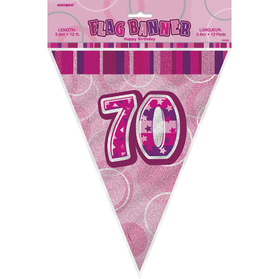 Glitz Birthday Pink Flag Banner 70th 12PK