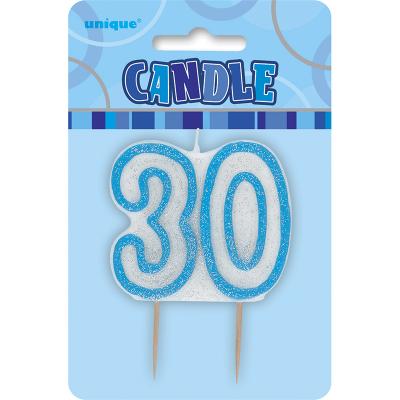 Glitz Birthday Blue Numeral Candle 30th