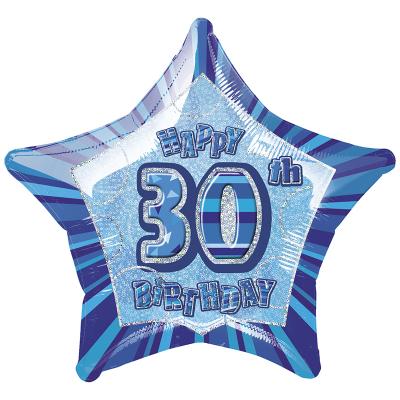 Glitz Birthday Blue Star Foil Balloon 30th