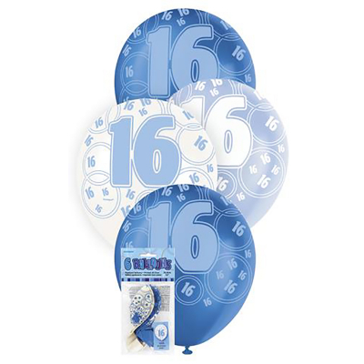 Glitz Birthday Blue Helium Balloons 16th 6PK