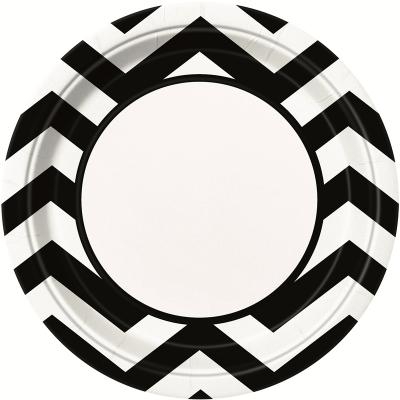 Chevron 23cm Plates Black 8PK