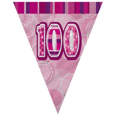 Glitz Birthday Pink Flag Banner 100th 12PK