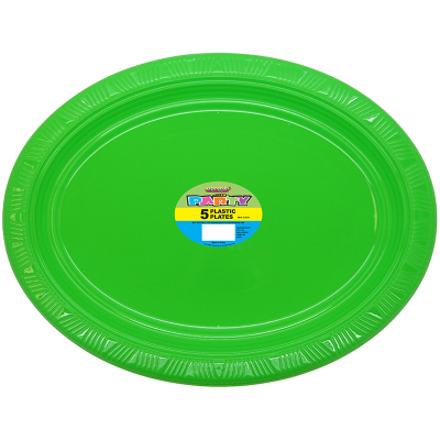 Oval Plastic Plates Lime Green 5PK