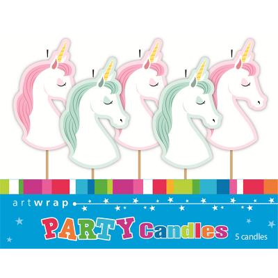 Unicorn Party Pick Candles 5PK