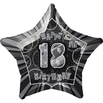 Glitz Birthday Black Star Foil Balloon 18th
