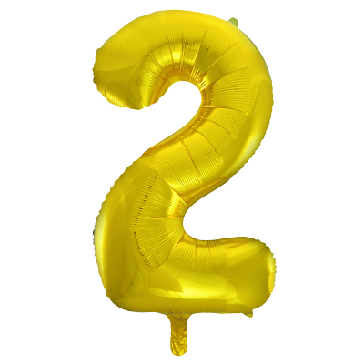 86cm 34 Inch Gaint Number Foil Balloon Gold 2 Inflated with Helium
