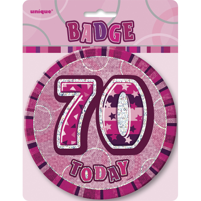 Glitz Birthday Pink Badge 70th
