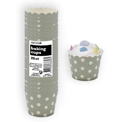 Polka Dots Baking Cups Silver 25PK