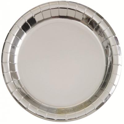 Metallic Silver Foil 23cm Paper Plates 8PK