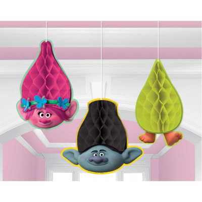 Trolls Honeycomb Hanging Decoration 3PK