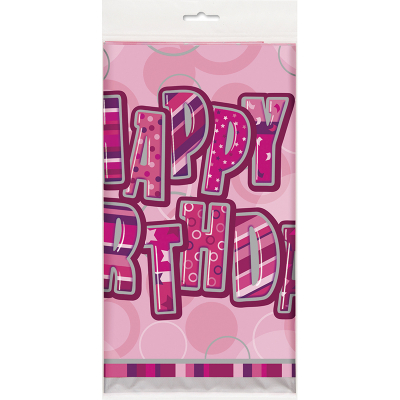 Glitz Birthday Pink Tablecover