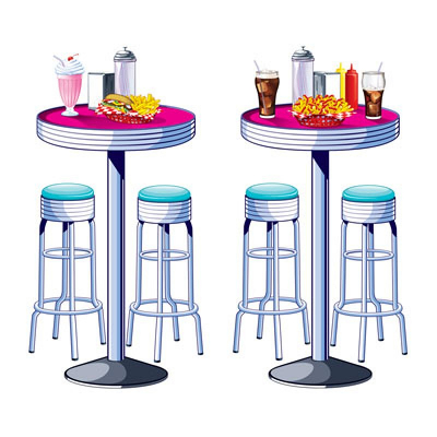 50's Soda Shop Tables & Stools Wall Decorations Insta-Theme Props 2PK