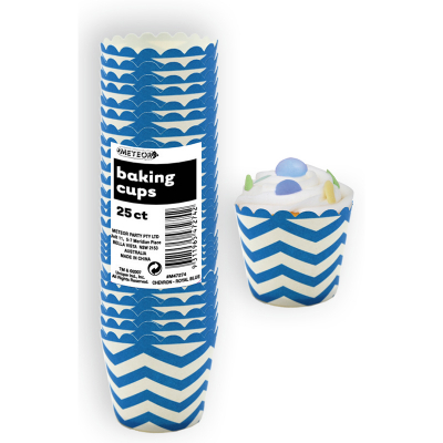 Chevron Baking Cups Blue 25PK