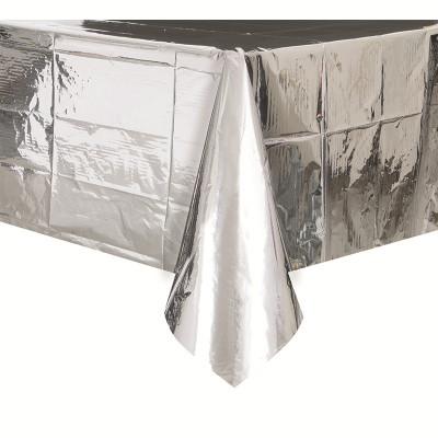 Plastic Tablecover Rectangle Metallic Silver