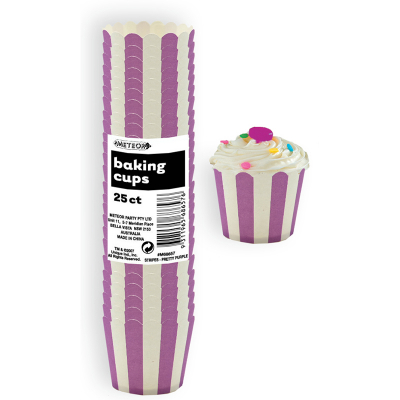Stripes Purple Baking Cup 25PK