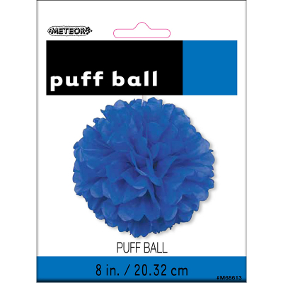 Hanging Puff Ball Decoration 20cm Royal Blue