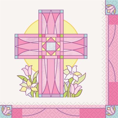 Sacred Cross Pink Beverage Napkin 16PK