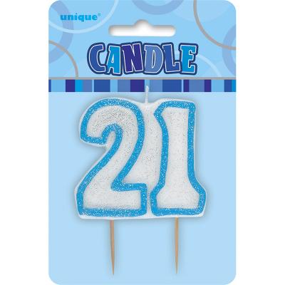 Glitz Birthday Blue Numeral Candle 21st