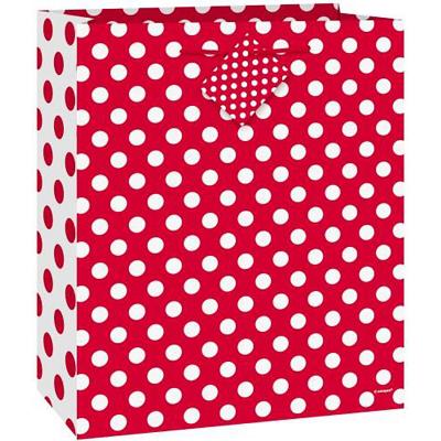 Polka Dots Gift Bag Ruby Red
