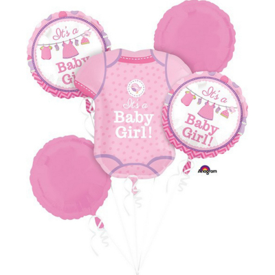 Bouquet Shower With Love Girl Foil Balloon 5PK