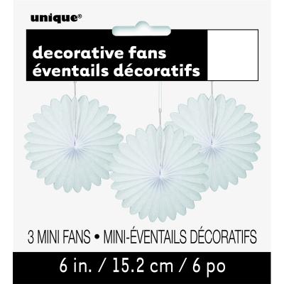 Hanging Decorative Fan 15cm White 3PK