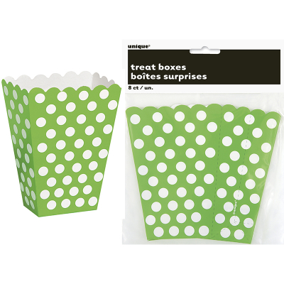Polka Dots Treat Boxes Lime Green 8PK