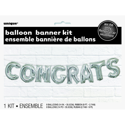 "Congrats 14""Letter Foil Balloon Kit 8PK"