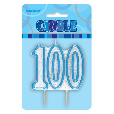 Glitz Birthday Blue Numeral Candle 100th