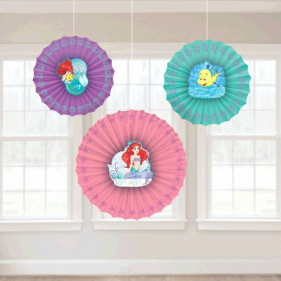 The Little Mermaid Ariel Dream Big Fan Decorations 3PK