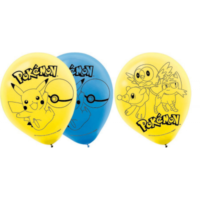 Pokemon Core 30cm Latex Balloons 6PK