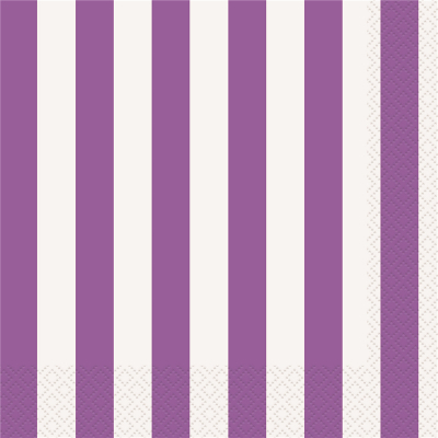 Stripes Purple Beverage Napkins 16PK