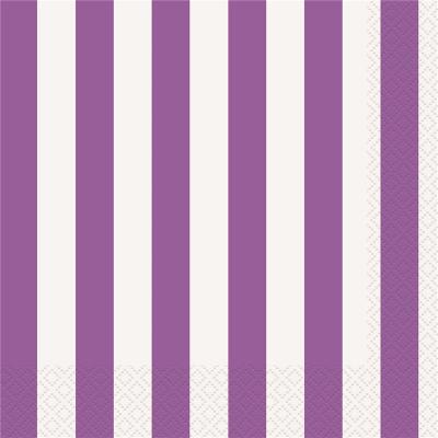 Stripes Purple Beverage Napkins 16PK