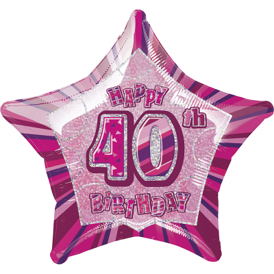 Glitz Birthday Pink Star Foil Balloon 40th