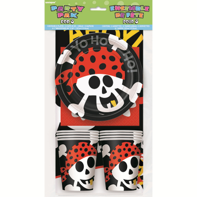 Pirate Fun Party Pack Inc Napkins Tablecover Plates Cups 25PK