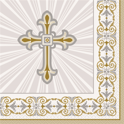 Cross Gold Silver Luncheon Napkins 16PK