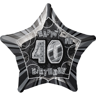 Glitz Birthday Black Star Foil Balloon 40th