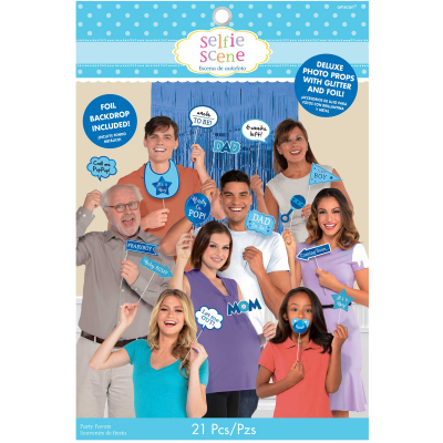 Baby Shower Blue Deluxe Photo Props Kit 21PK